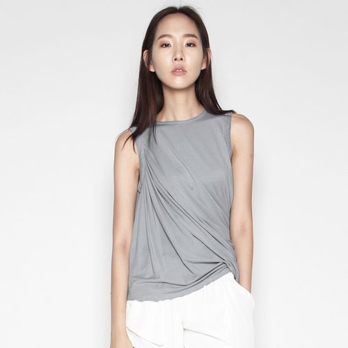 ELBERTE DRAPE JERSEY GREY TOP