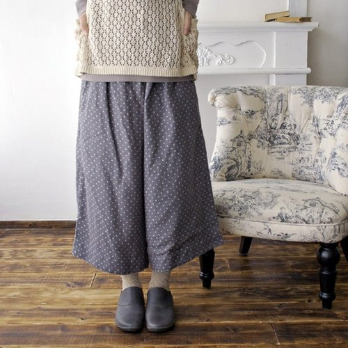 Cat Dot Linen Soft Processed Wide Pants Long Culottes