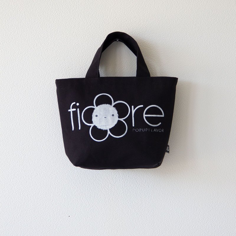 "Hand screen print Canvas mini Tote bag "" Fiore"" -Black"