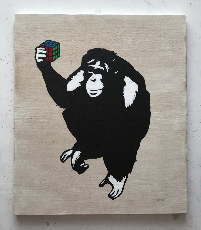 [IROSOCA] Chimpanzee canvas painting with EASY / Rubik's Cube F10 size original picture