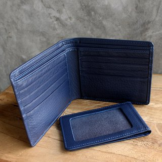Leather Wallet - Bifold Plus - Blue (Genuine Cow Leather) / Small Wallet