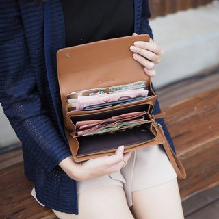 EVE : Long wallet, Caramel brown wallet, leather wallet