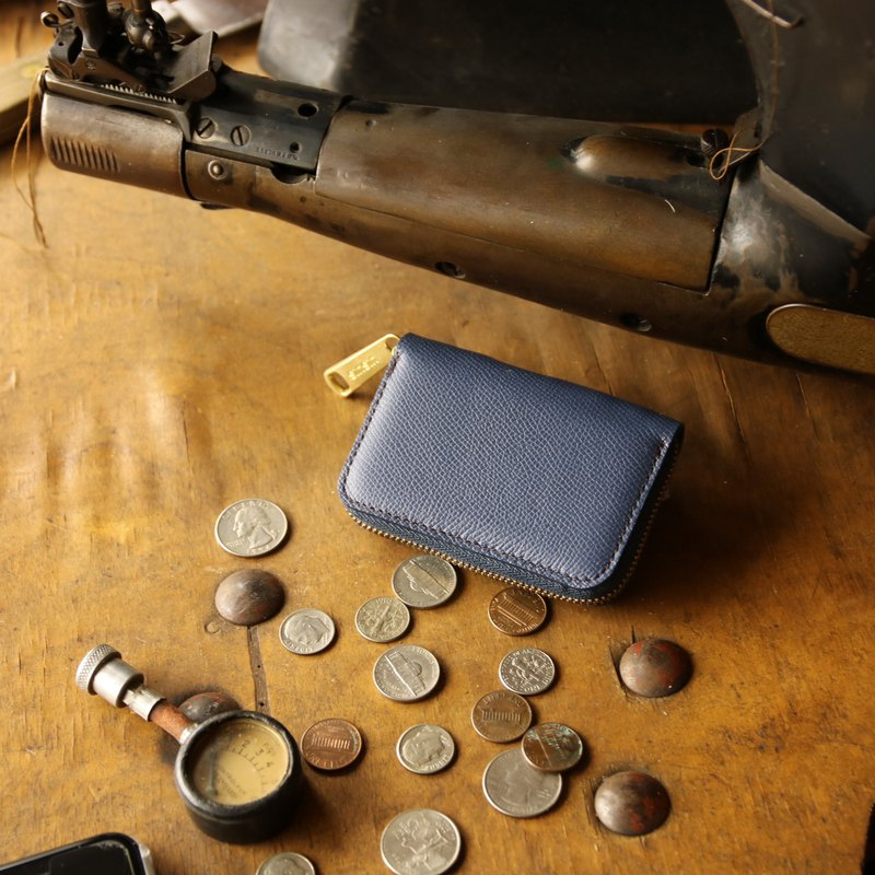 Japan Manufacturing credit card payment cowhide color blue Weinheimer made in JAPAN handmade leather wallet coincase
