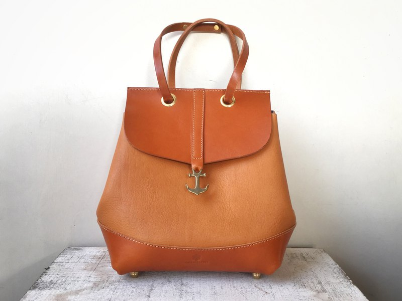JAPAN Leather 2way bag lechuza camel