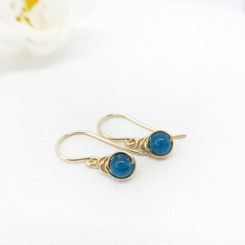 Blue Apatite Drop Earrings, 14KGF, Sterling Silver Teal Gemstone Earrings