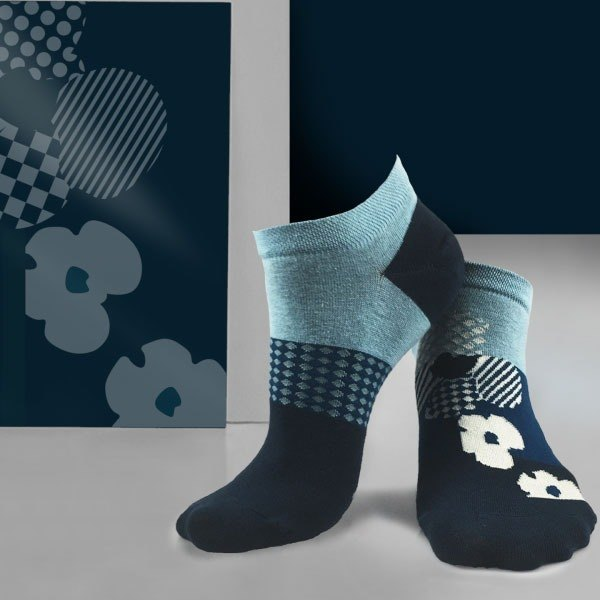 socks_white ocean/ irregular / socks / flower
