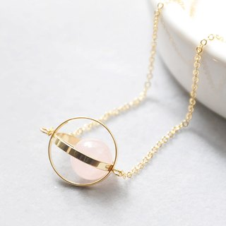恋爱星球。宇宙。金环。粉晶。项链 Love Planet。Galaxy。Golden Ring。Rose Quartz。Necklace。生日礼物。闺蜜礼物。姐妹礼物