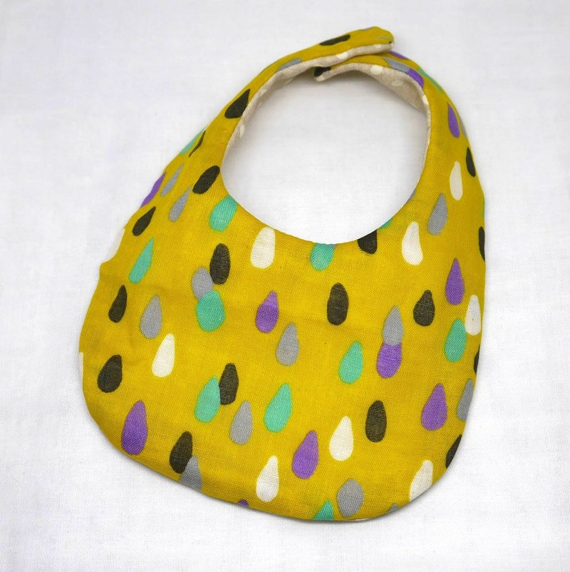Japanese Handmade 4-layer-double gauze Baby Bib /drop matard yellow