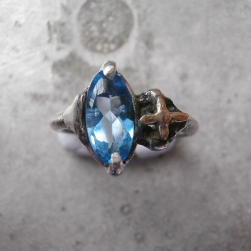 Blue topaz and star ring