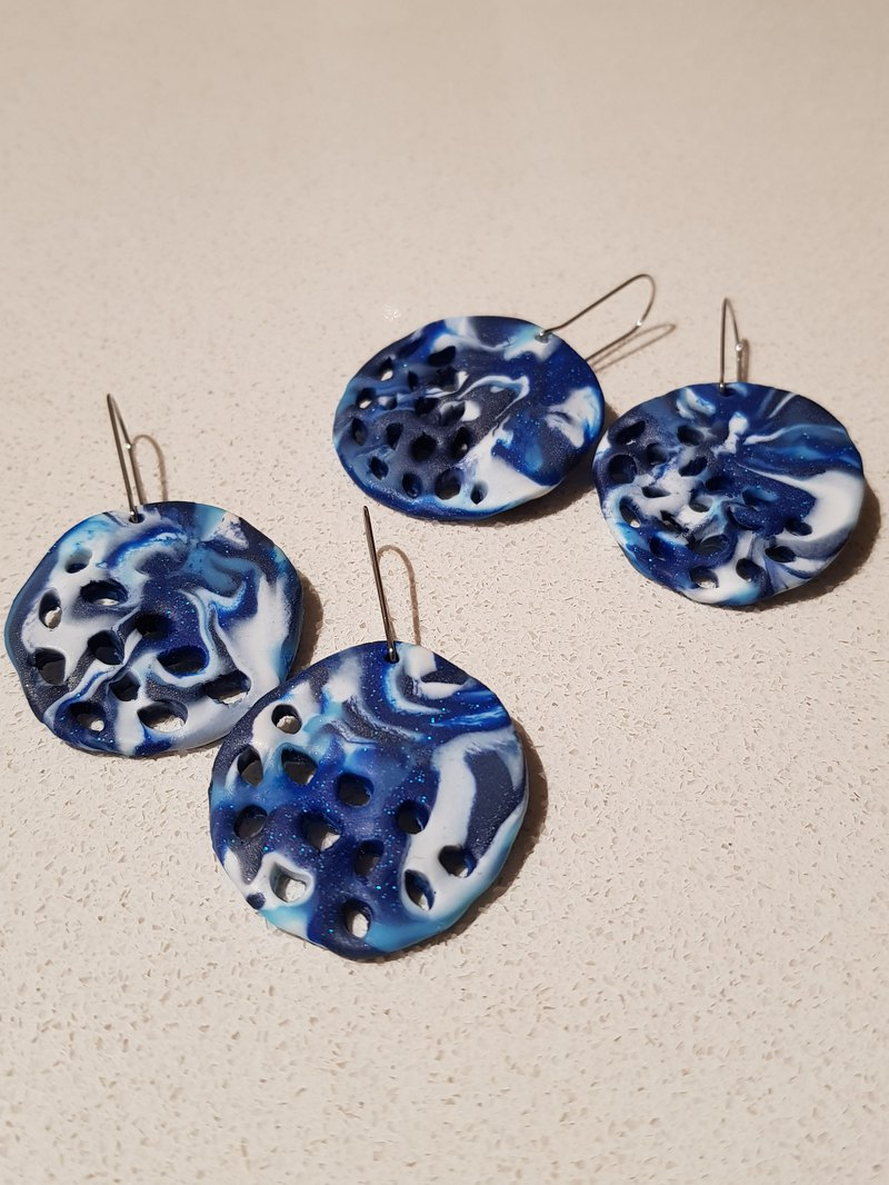 Ocean disc polymer clay dangle earrings