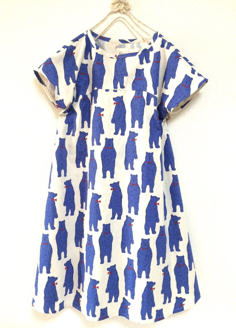 Nordic Animal: Bear flare dress: short-sleeved / unbleached
