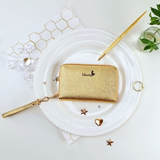 ✦GOLD✦ Medium Zip Around Wristlet [Cow Leather]