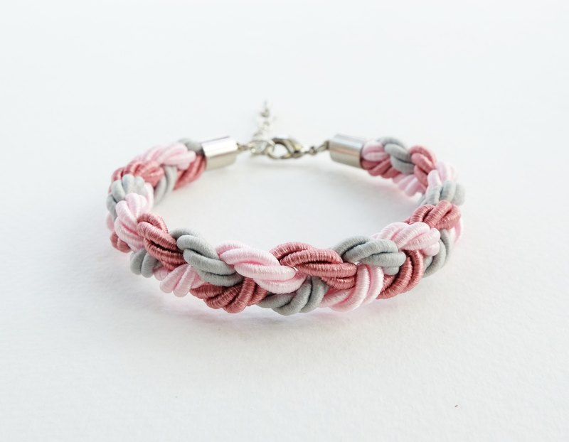 Pink/Gray braided bracelet