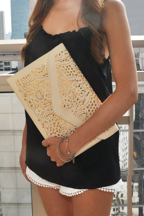 Agathe Faux Leather Laser Cut Clutch and Shoulder Bag