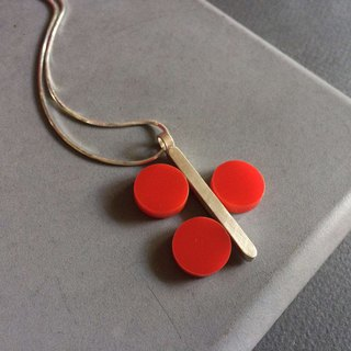 Redcurrant - sterling silver necklace with red plexi circles
