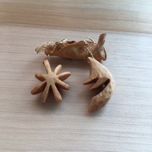 wooden moon & star pierced earrings