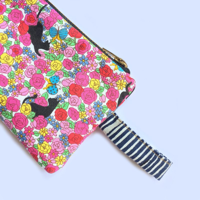 Black Cat Rose Padded Zip Pouch, Small Pencil Cass, Spectacle Pouch