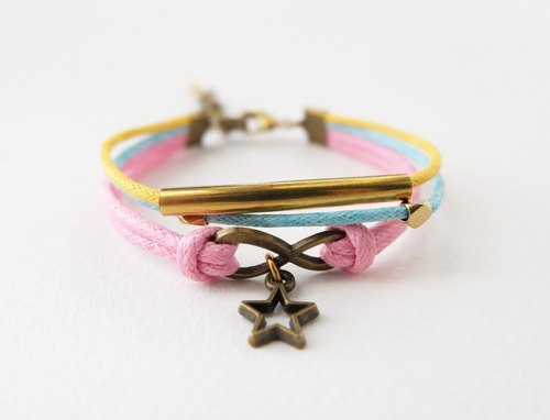 Pink yellow blue triple layers cord brass infinity bracelet and star charm