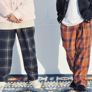 格纹毛料西装裤-大地 WOOLEN TAILORED TROUSERS IN EARTH CHECK