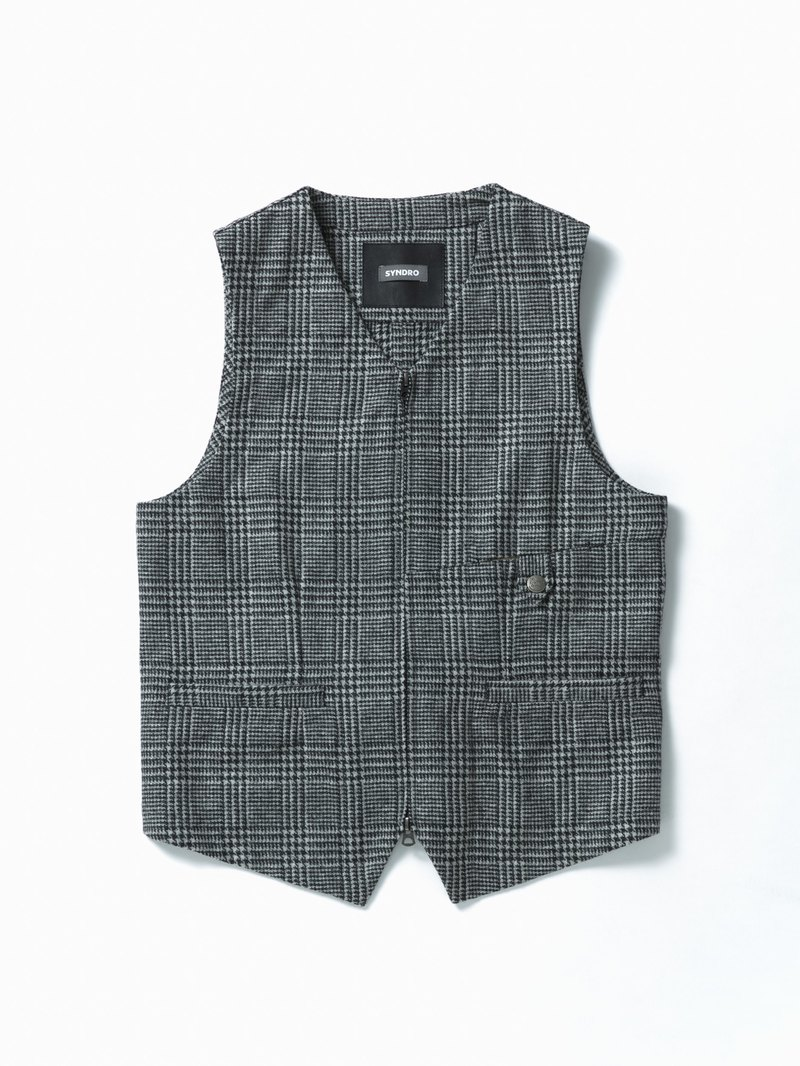 """BREATH HOLDER"" ZIPPER GILET - GRAY GLEN PLAID TWEED"