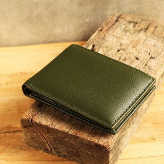 Wallet - Bifold - Dark Green (Genuine Cow Leather) / Small Wallet  / 钱包 / 皮包