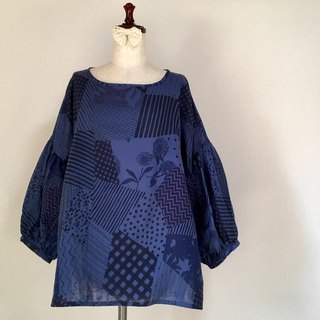 Gather Sleeve Blouse * Random Patchwork Pattern * Double Gauze * Indigo Blue