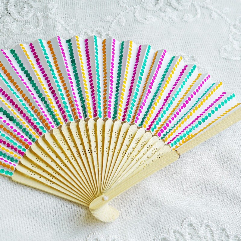 Hand-painted colorful folding fan