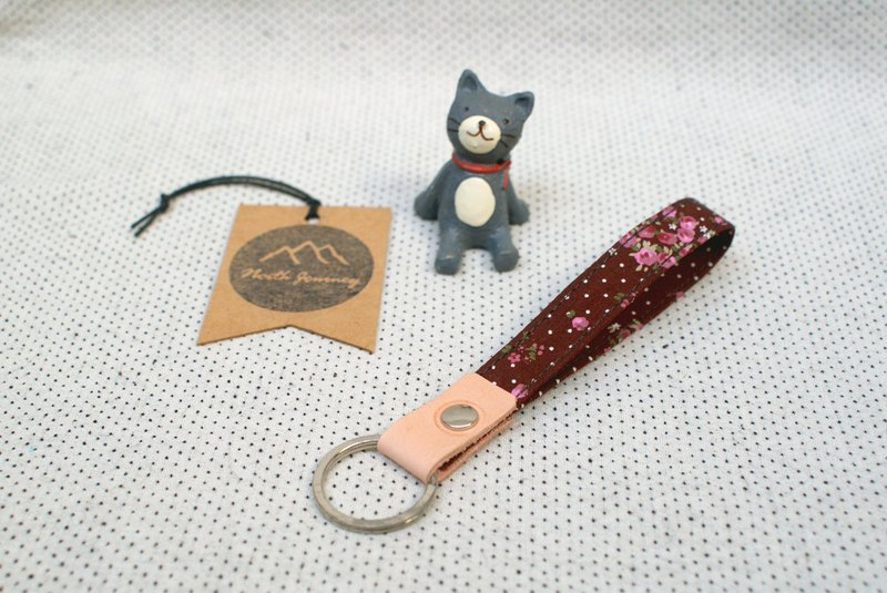 Brown Roses Bouquet , 棕色玫瑰花束 ,Cute Fabric wristlet Key Fob,Key Ring,Gift for Her Girl Women Friend ,Swivel lobster claw clasp Hook  鑰匙扣 ,キーチェーン ,키 체인