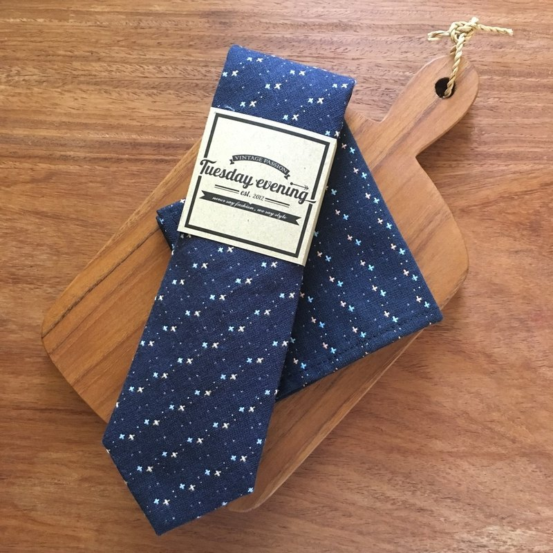 Double Blue Dot Cross Tie Set
