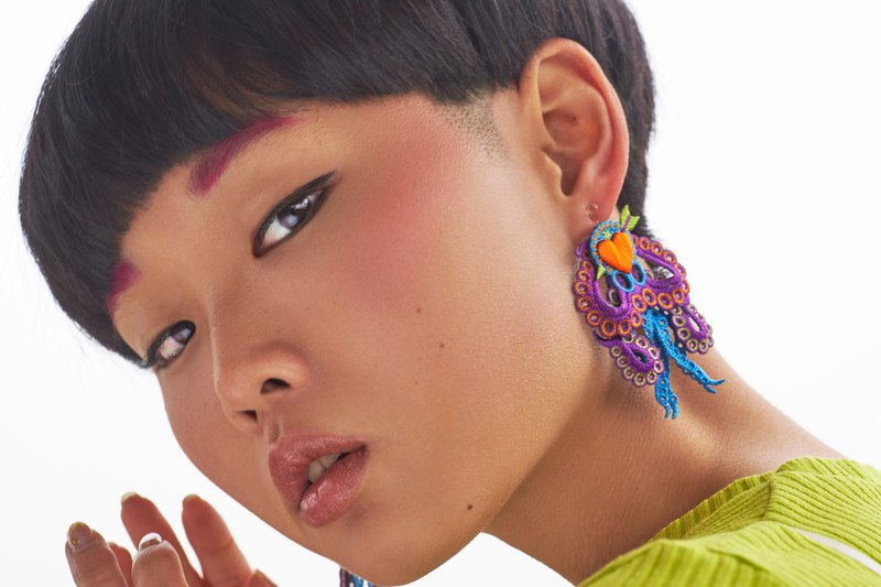 ARRO / Embroidery earing / ARROCTPUS / PURPLE