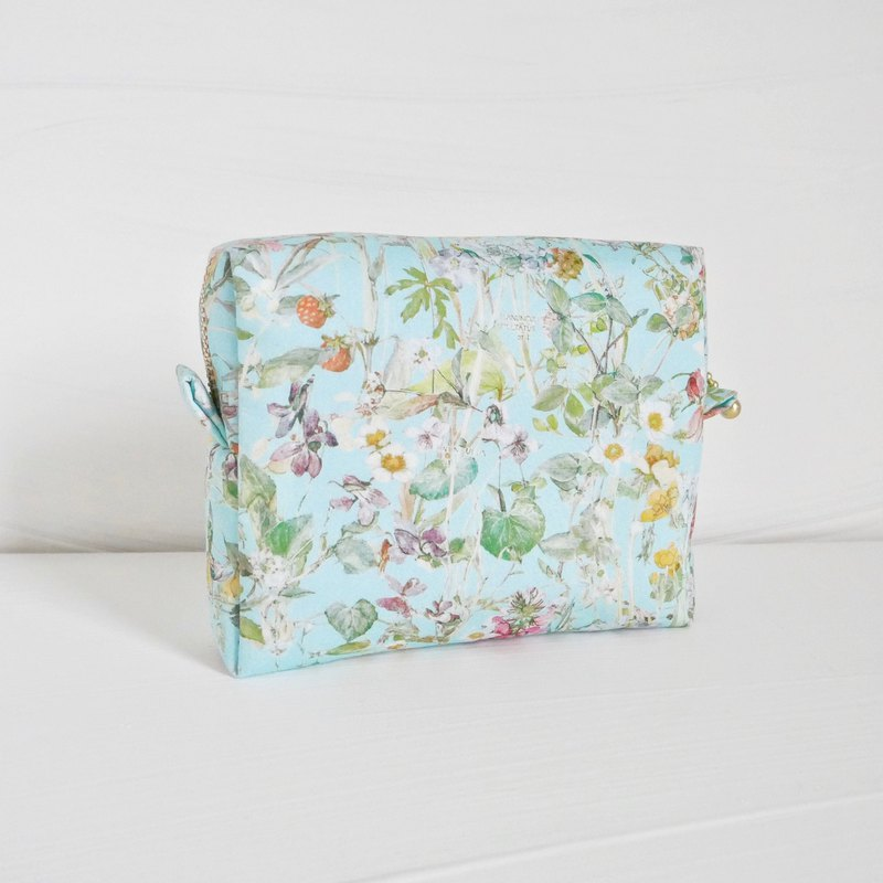 Liberty Fabric Pouch, Makeup bag Cosmetic bag / Wild Flowers Blue