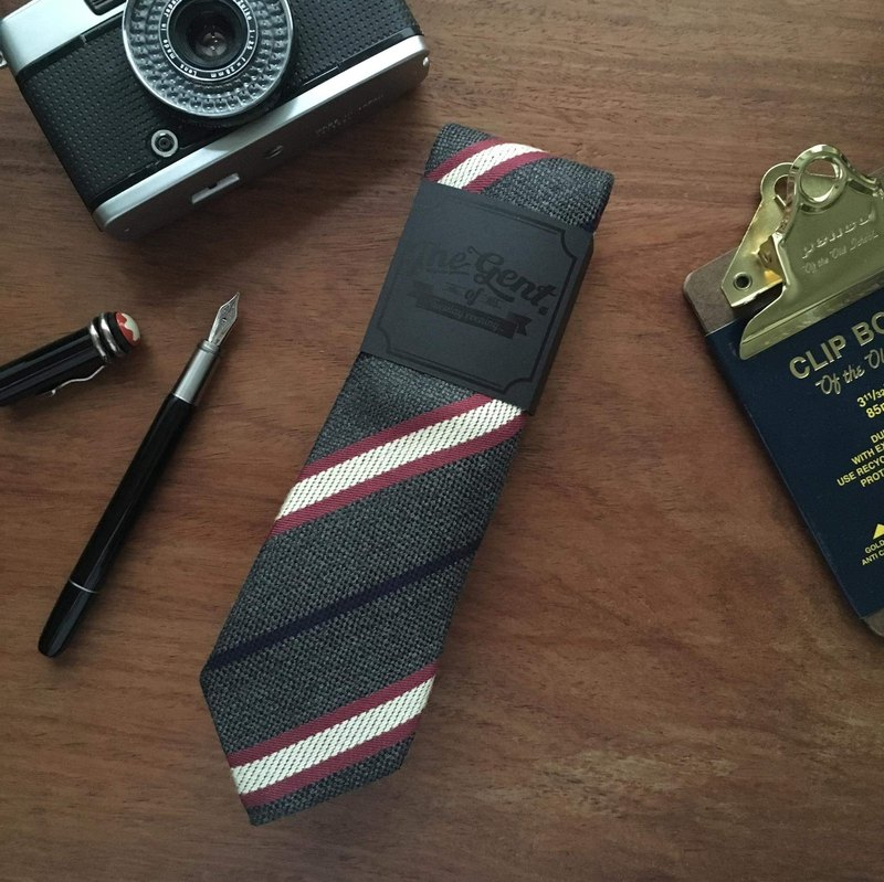 The GENT Grey Black Lightning Stripe Neck Tie