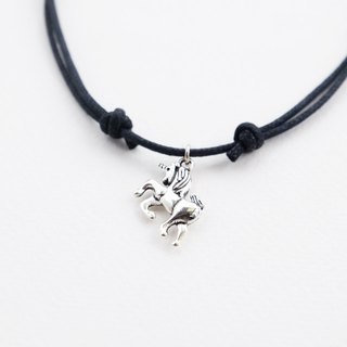 Unicorn adjustable knot cord choker / necklace in black , waxed cotton cord