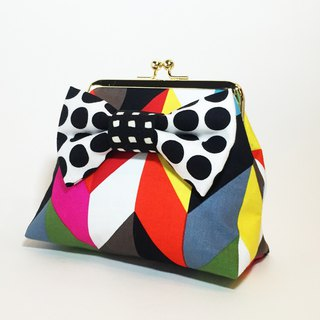 one-of-a-kind kisslock pouch cardcase coincase colorful YABANE dots ribbon