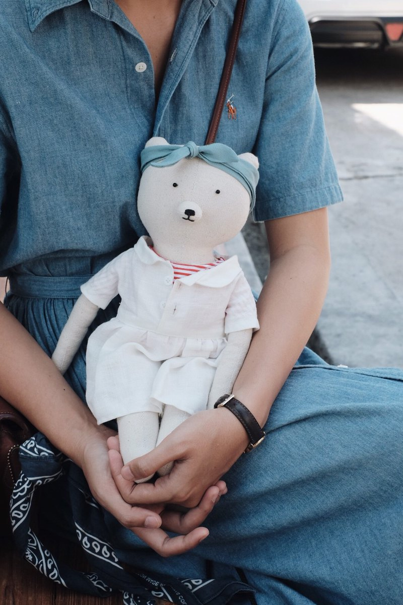 bear doll handmade doll  made from cotton and linen  for children and gift