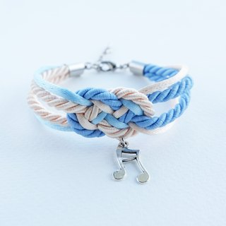 Blue/Cream infinity knot rope bracelet with music note charm
