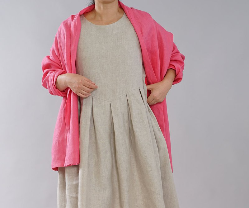 wafu Linen cardigan / long sleeves / shawl collar / pink h014a-ppk2