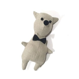 animal doll  The classic dog linen material which I made a bow tie