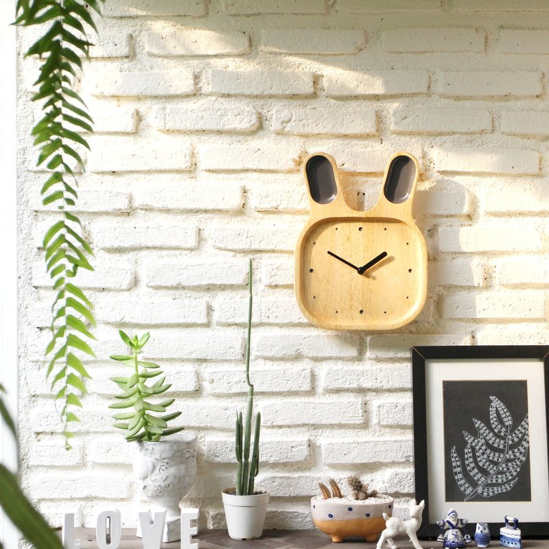 Bunny wood clock-Gray