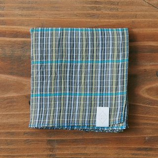 Linen cotton tinted dyed check handkerchief khaki × blue