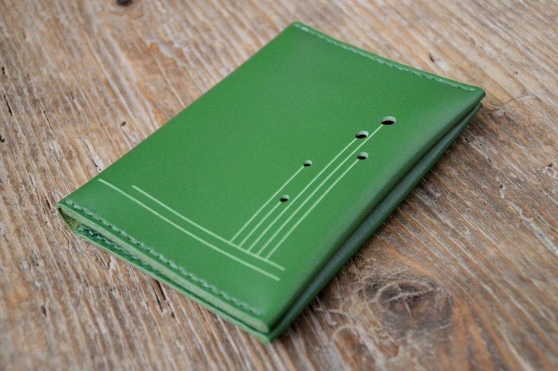 Leather passport cover, passport holder, green travel wallet, cash card holder, hand stitched, for men & women