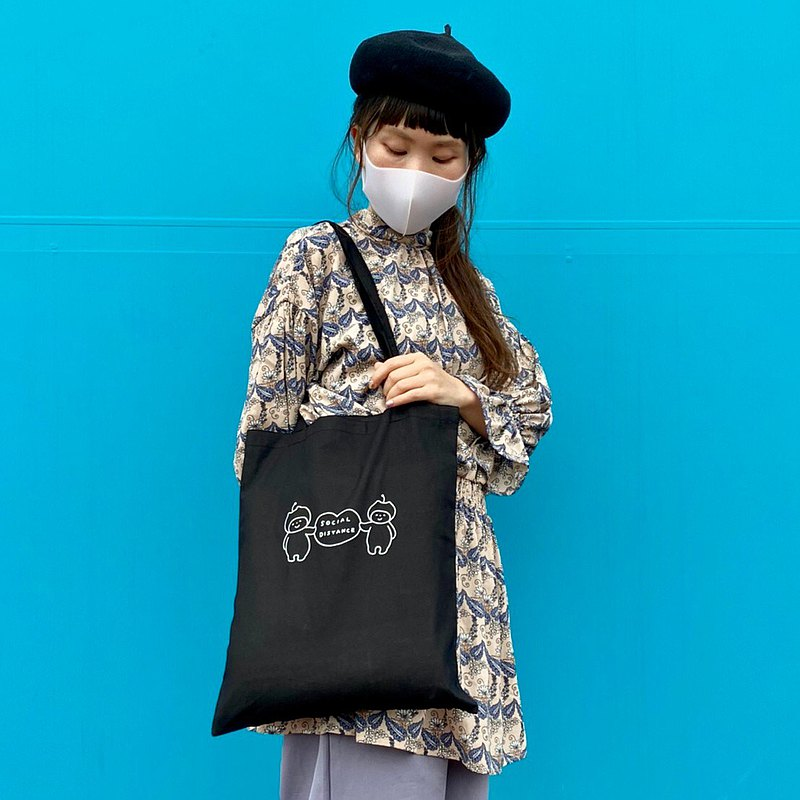 Shoulder tote bag(Black/social distancing)
