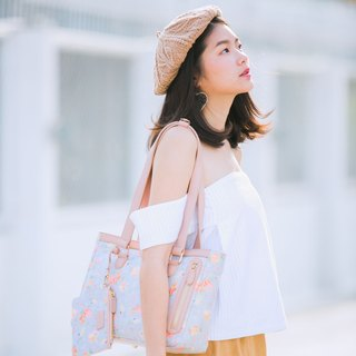 ☀BLUE SUNSET☀ Romantic Flower Shoulder Bag | waterproof printed fabric & leather trims