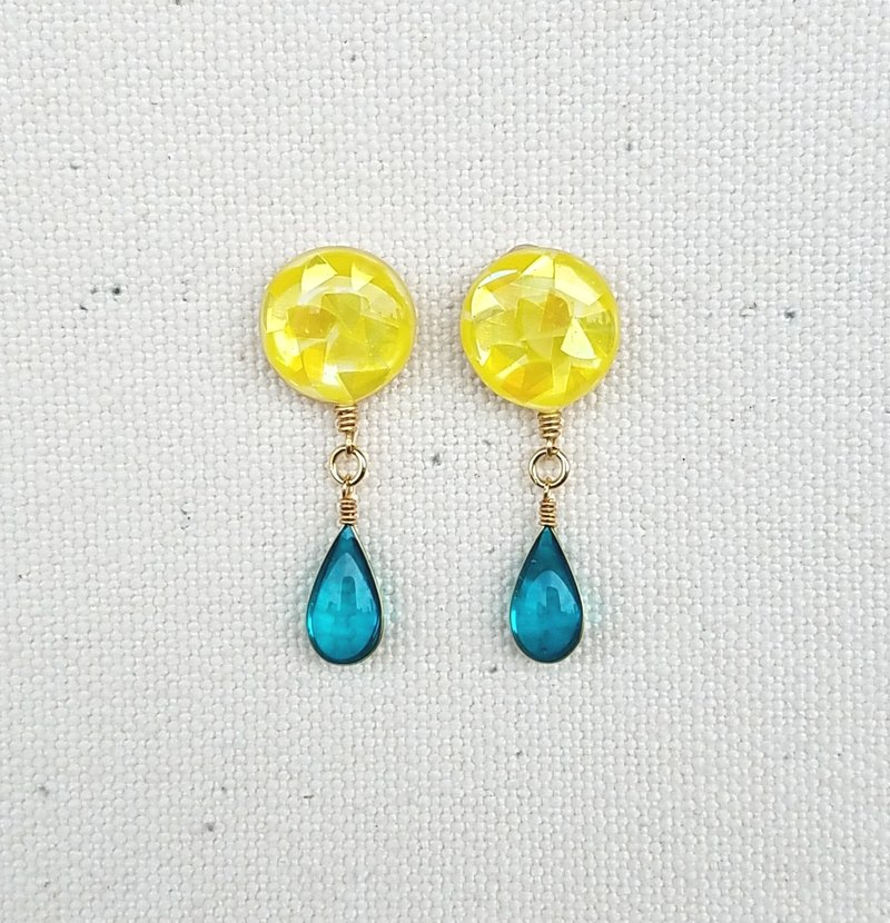 colourful mosaic button & drops pierced earrings<B>