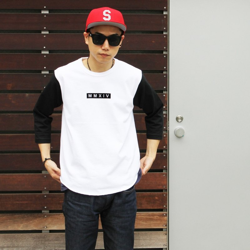 7 分袖棒球 T 恤(白 x 黑)BB 3/4 SLEEVE-T #WHT X BLACK