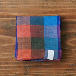Lamy tinted dyed check handkerchief blue × orange