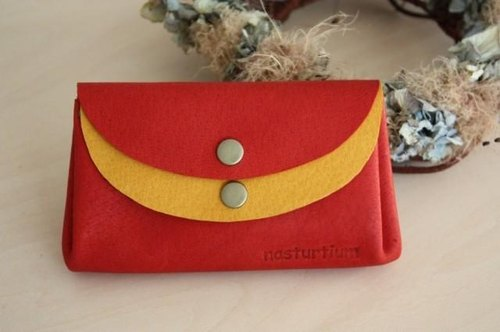 Small wallet red × yellow pigskin
