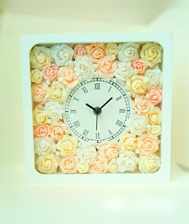 Flower Clock square (white) Natural rose (mix) ver.