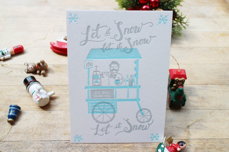 Letterpress Christmas postcard-  Let it Snow with a Singaporean twist