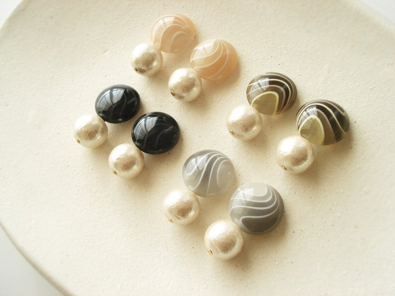 Classical marble acrylic button and cotton pearl clip on earrings 夾式